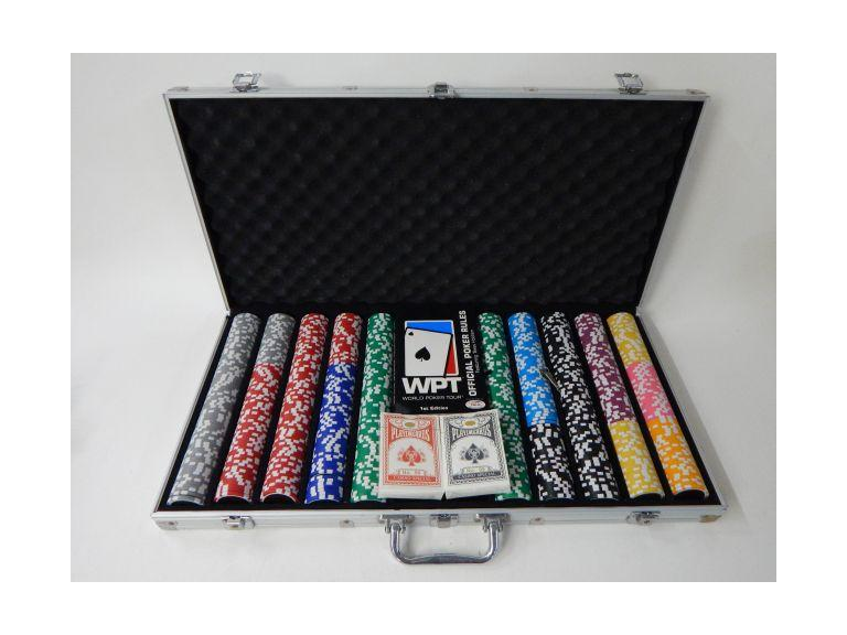 Cased Poker Chip and Card Set