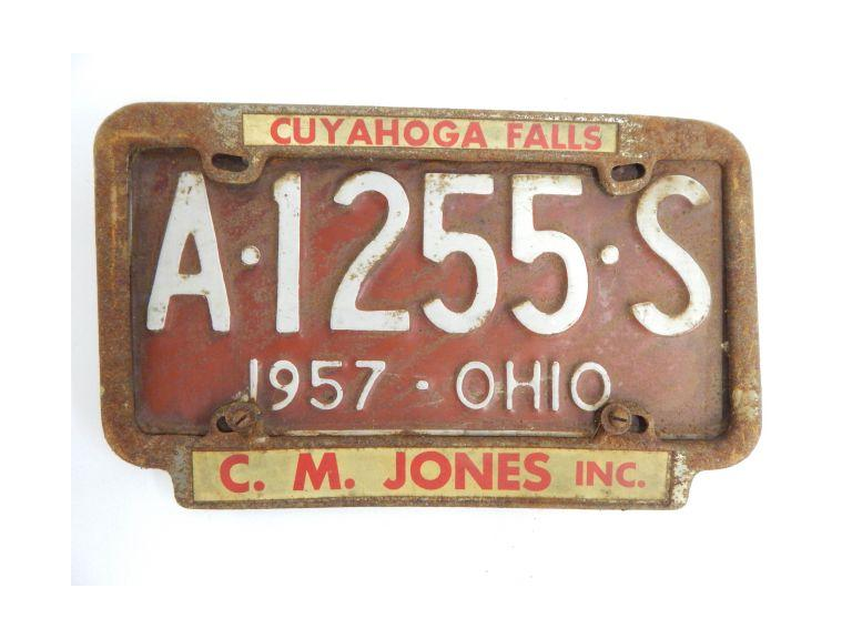 1957 Ohio Pressed Steel License Plate