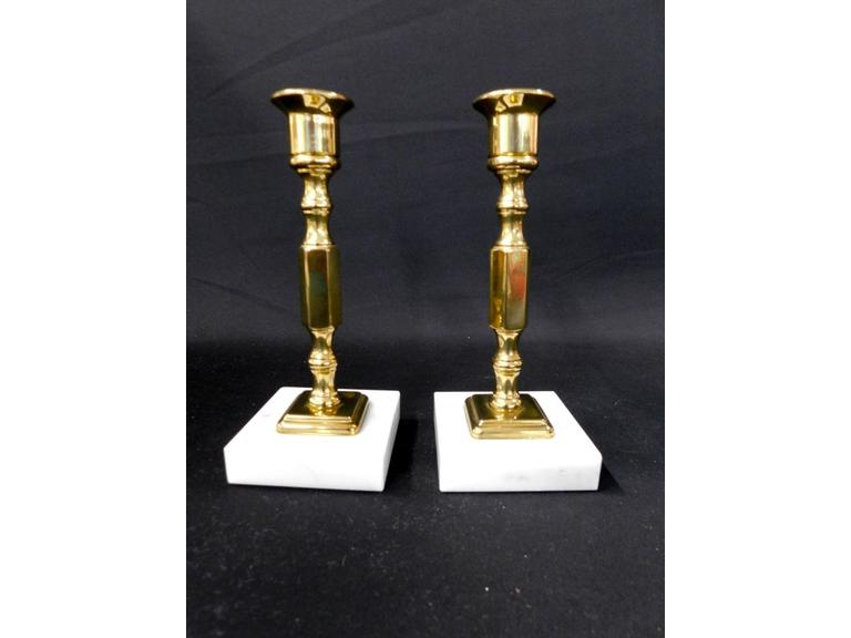Marble and Brass Candlesticks