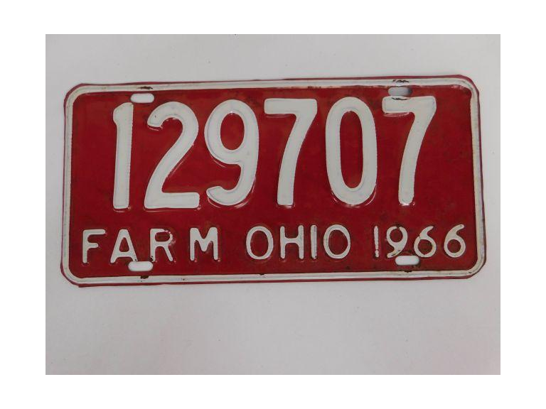 1966 Ohio Farm License Plate