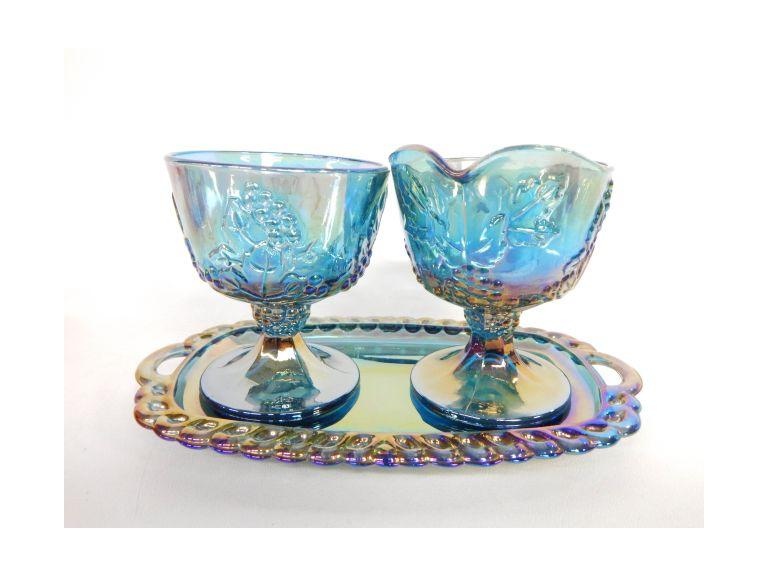Blue Carnival Glass Cream & Sugar