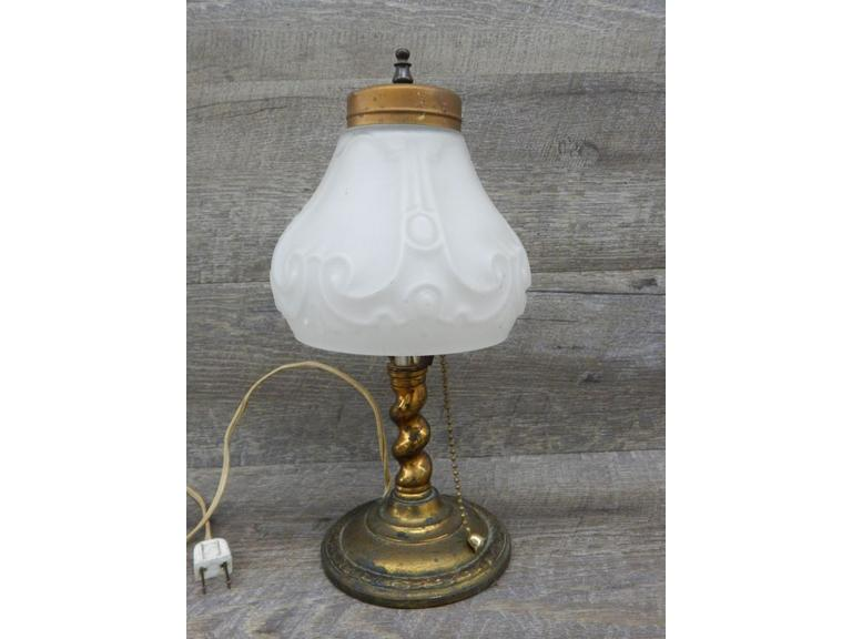 Brass with Embossed Glass Shade Lamp