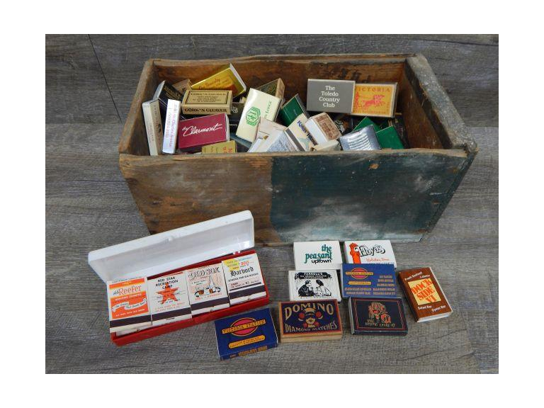 Old Wooden Box full of Matchboxes and Packs