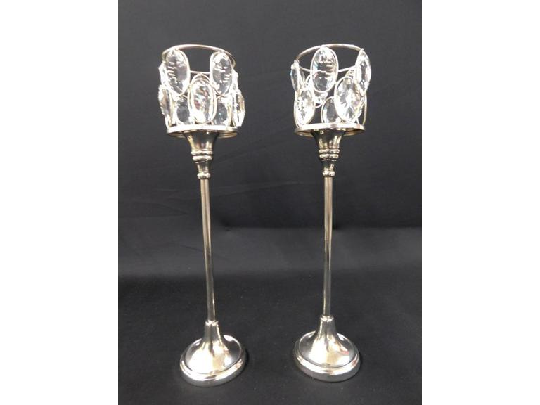 Crystal Teardrop and Silverplate Votive Candle Holders (Lot of 2)