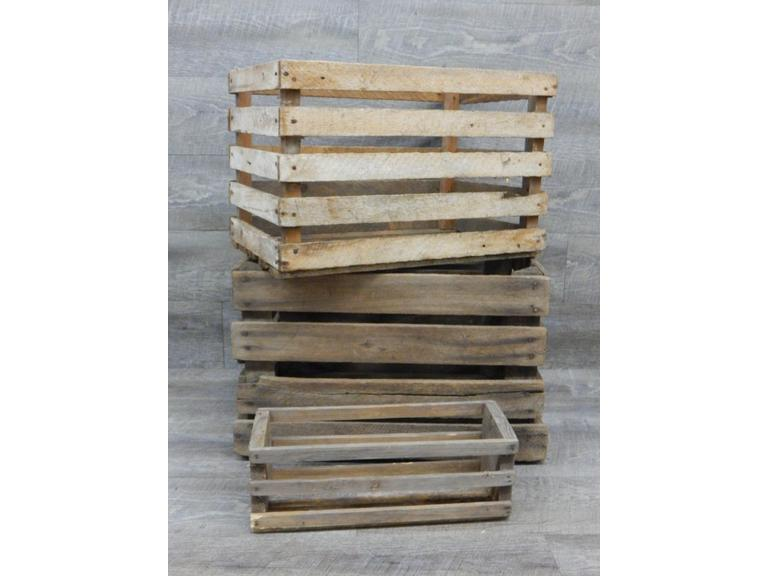 Collection of Slatted Wood Crates