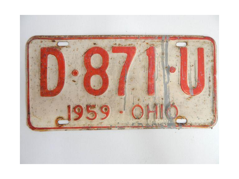1959 Ohio Pressed Steel License Plate