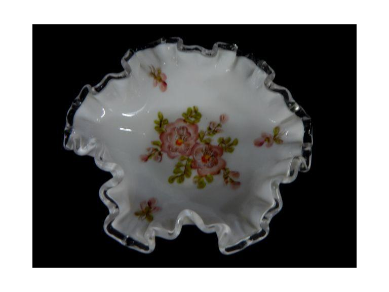 Fenton Painted Silver Crest Bowl