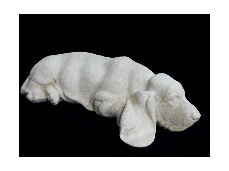 Lying Down Hound Ceramic Statue