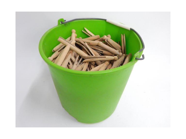 Bucket Full of Wooden Cloth Pins