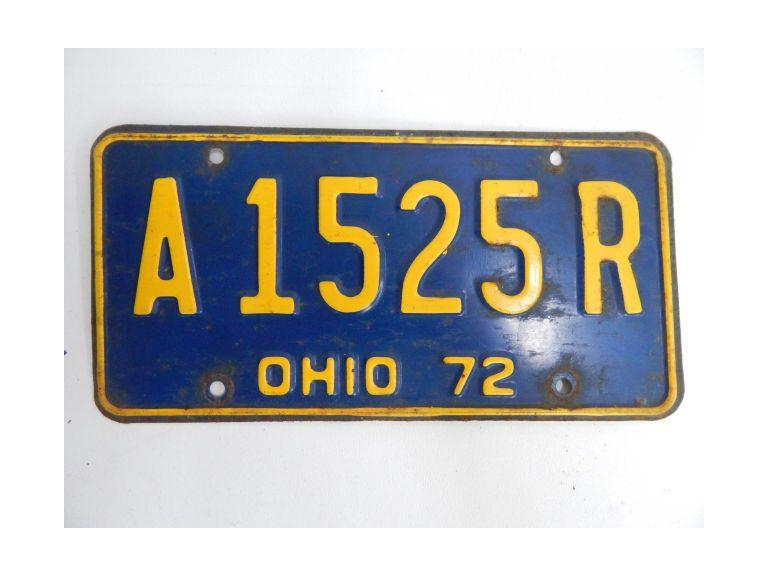 1972 Ohio Pressed Steel License Plate
