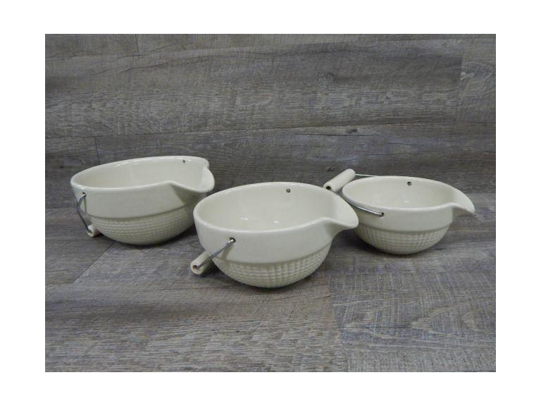 Set of Handled Stoneware Mixing Bowls