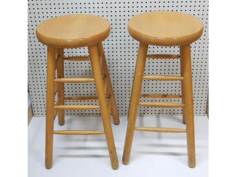 Pair of Tall Wooden Stools