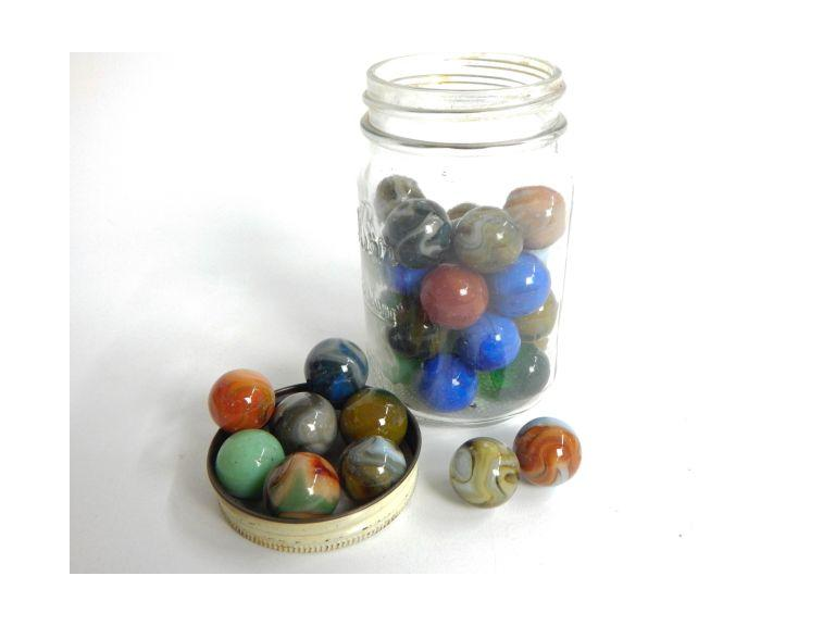Jar of Large Glass Shooter Marbles