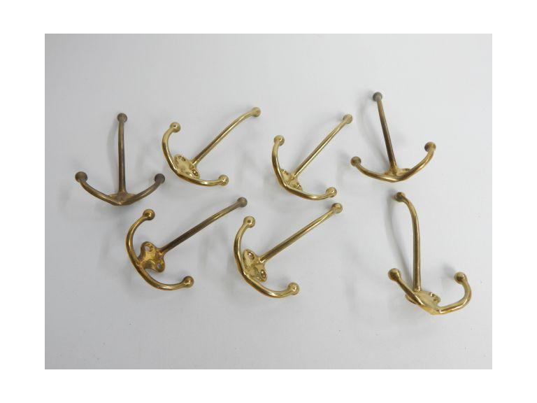 Collection of Brass Triple Coat Tree Hooks
