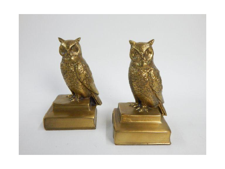 Pair of Brass Owl Bookends