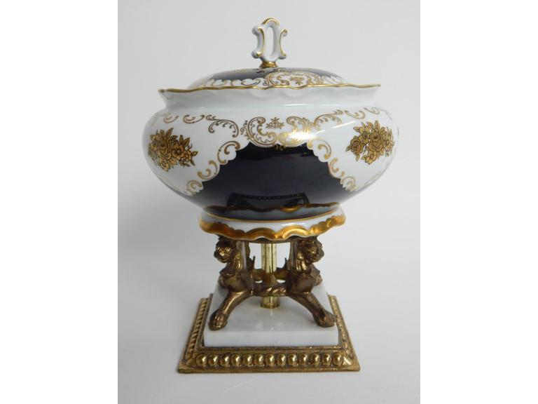 Porcelain Pedestal Lidded Bowl