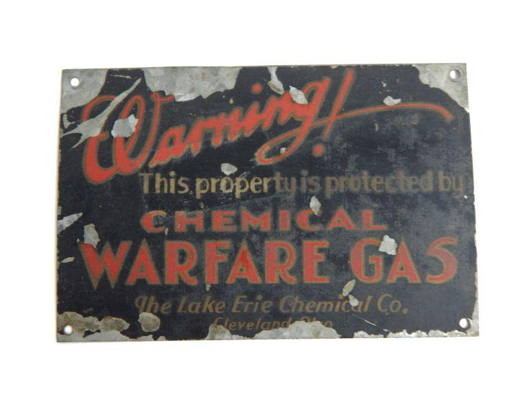 Old Chemical Warfare Gas Warning Sign