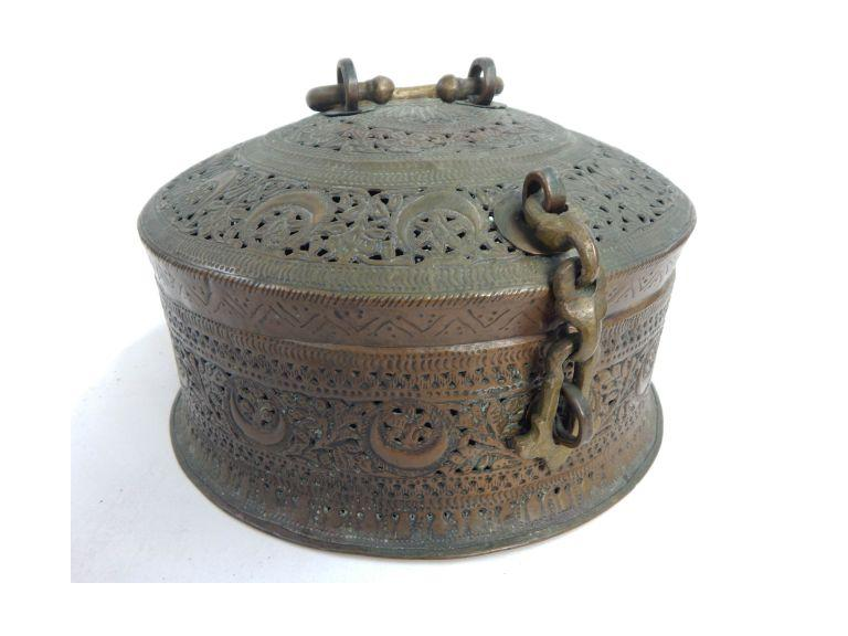 Large Ornate Copper Hinged Top Incense Burner