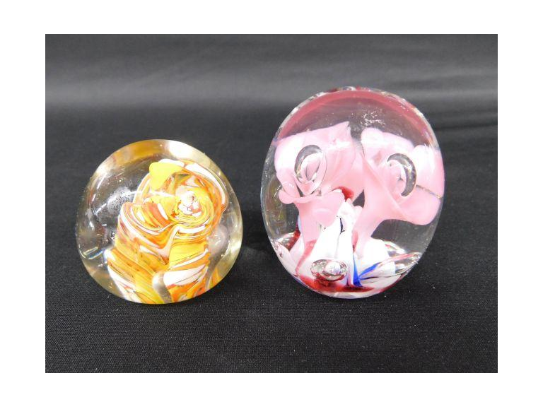 Lot of 2 Murano Glass Paperweights
