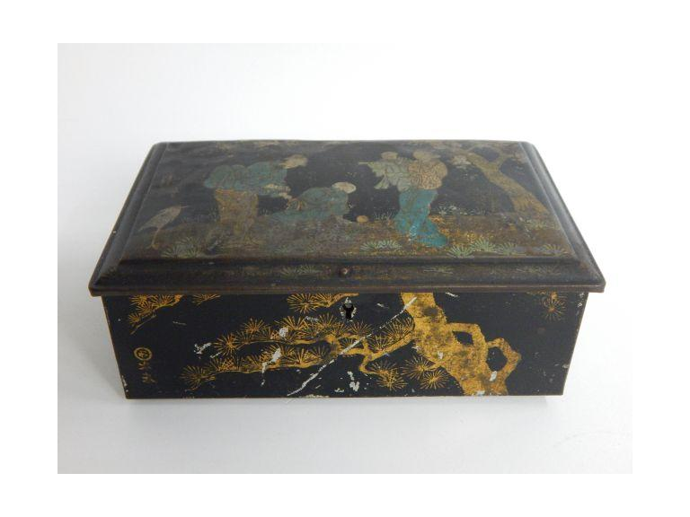 Early Oriental Decorated Riley's Toffee Tin with Key