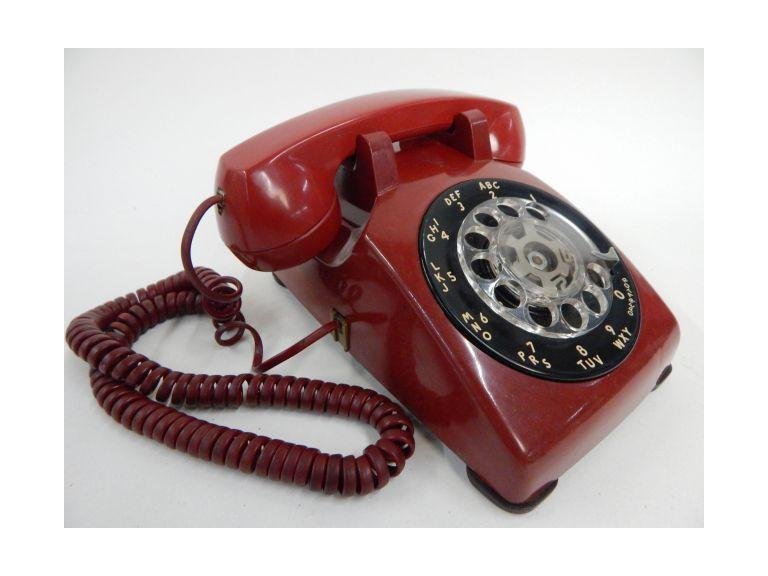 Red Plastic Rotary Dial Telephone