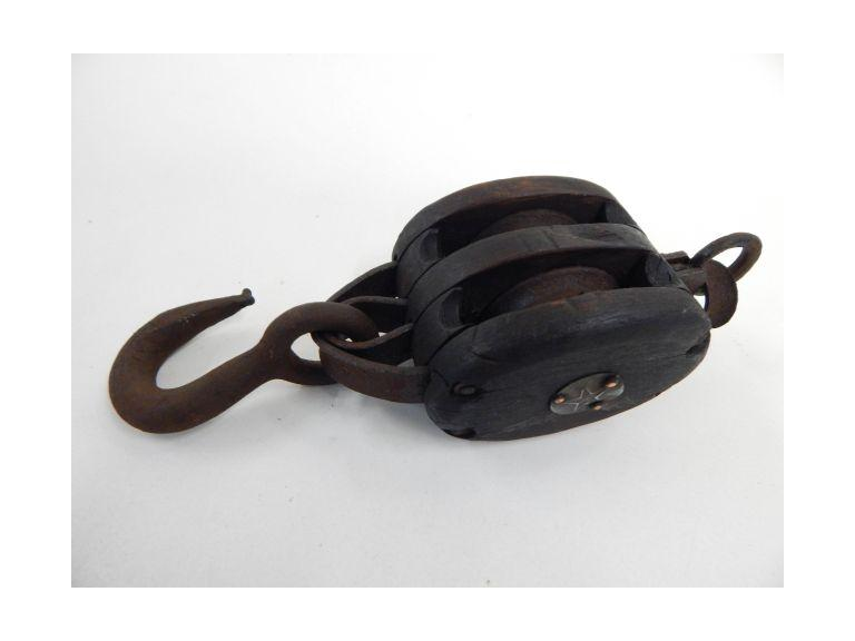 Antique Wood Block Pully