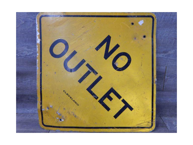 Old Metal No Outlet Street Sign