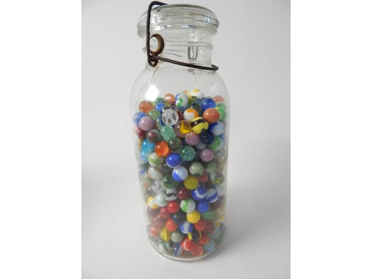 Large Canning Jar of Marbles