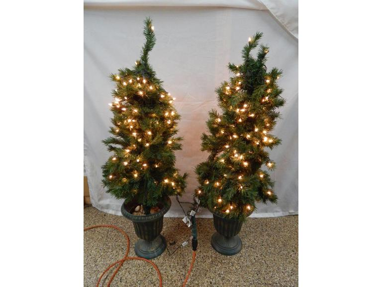 Pair of Small Light-Up Christmas Trees