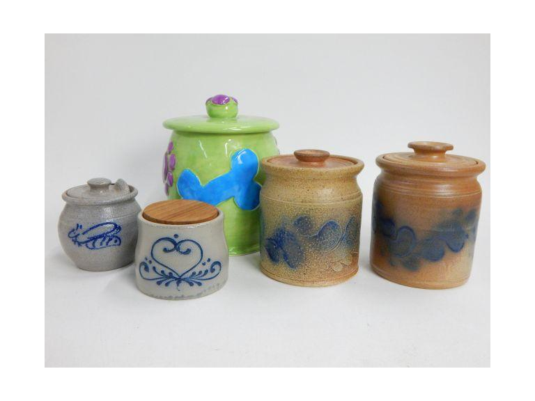 Collection of Pottery Canisters with Cooksburg