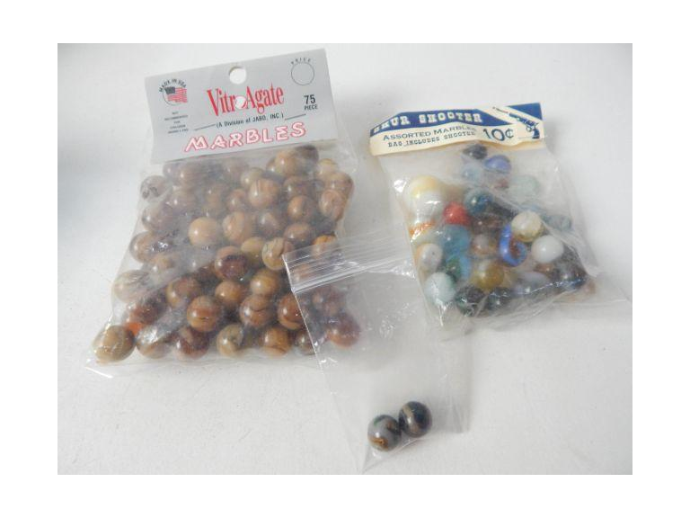 Vintage and Newer Bags of Marbles
