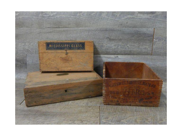 Vintage Wooden Storage Boxes and Small Crate