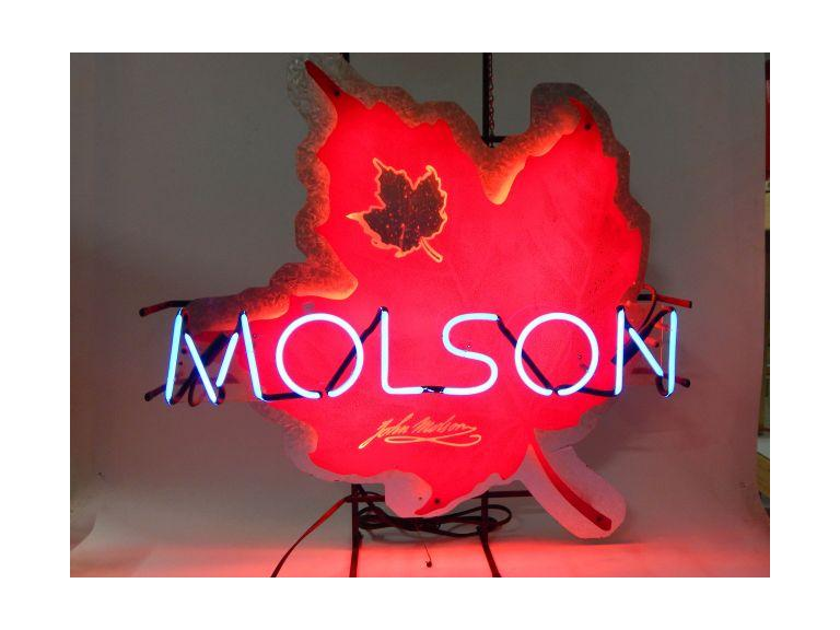 Large Molson Beer Neon Maple leaf Sign