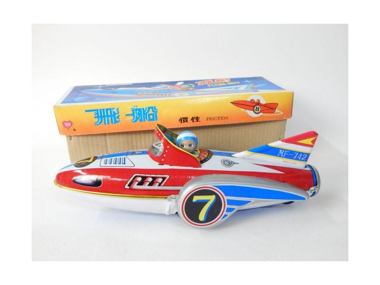 Tin Metal Friction Fly Boat Toy