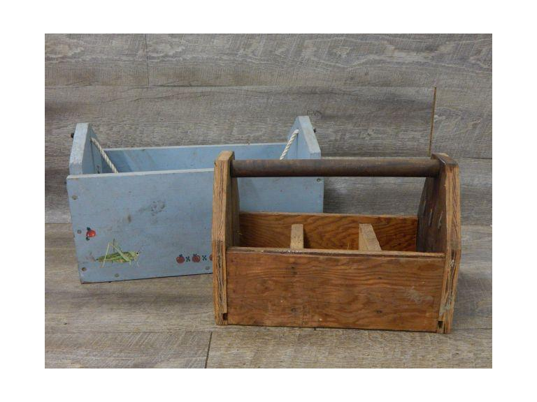 Pair of Hand Crafted Wooden Carriers