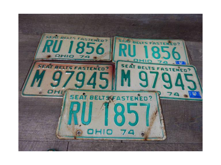 1974 Ohio Car License Plates