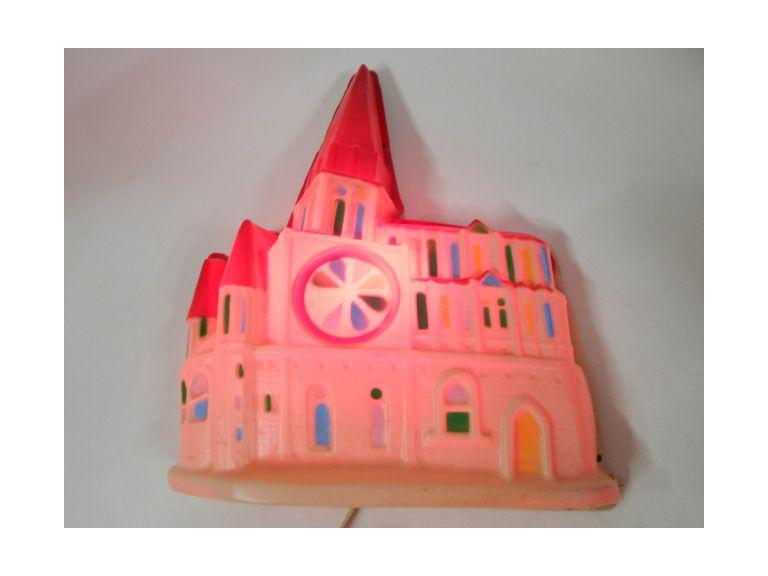 Vintage Molded Plastic Light-Up Church