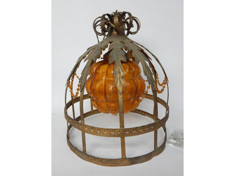 Vintage Hinging Cage Light with Crystals