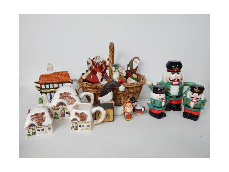 Christmas Décor Lot with Tea Sets