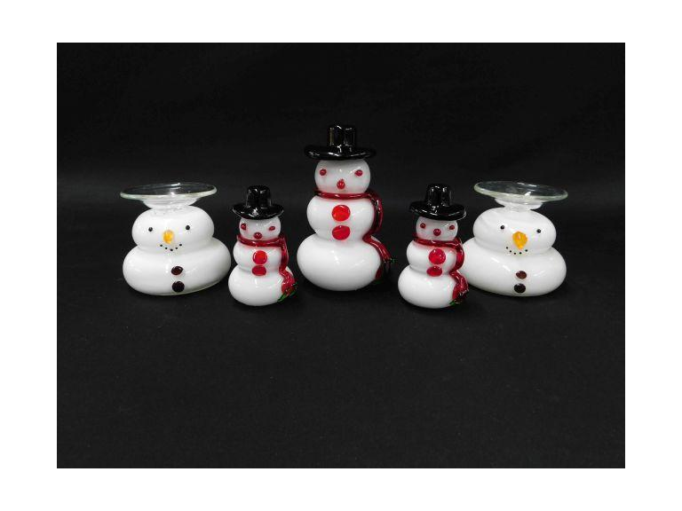 Glass Art Snowmen