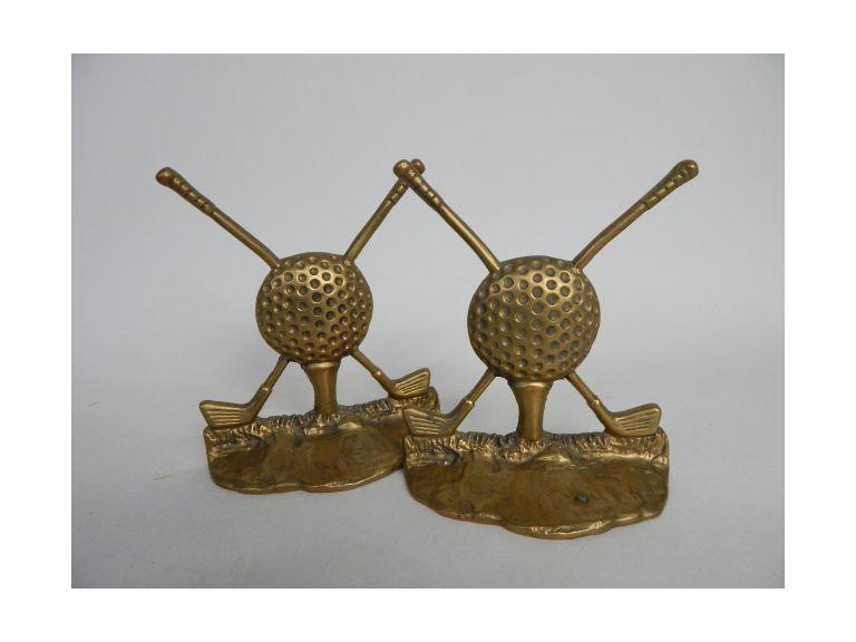 Pair of Brass Golf Themed Bookends