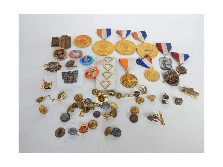 Collection of Pins, Buttons and Medals