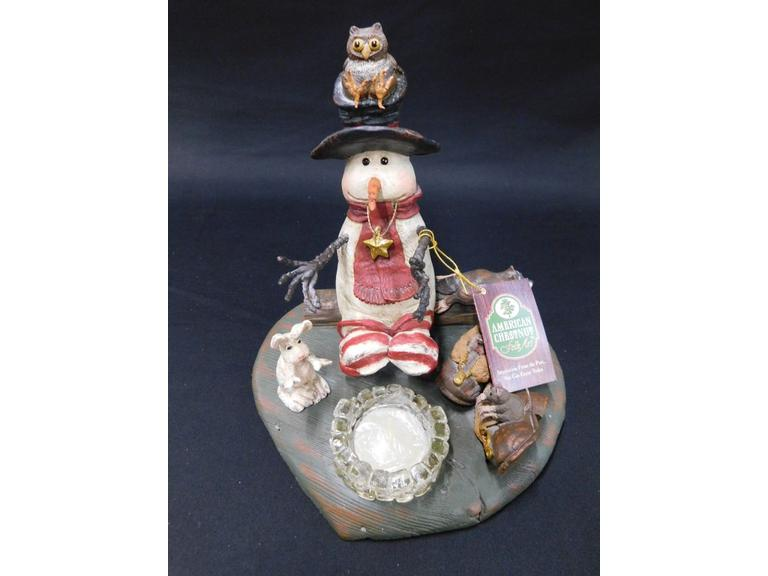 American Chestnut Folk Art Snowman Tea Light
