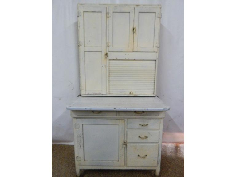 Tall Hoosier Style Enameled Top Cabinet