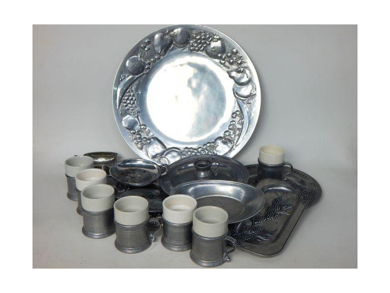 Collection of Pewter Trays, Cups and Plates