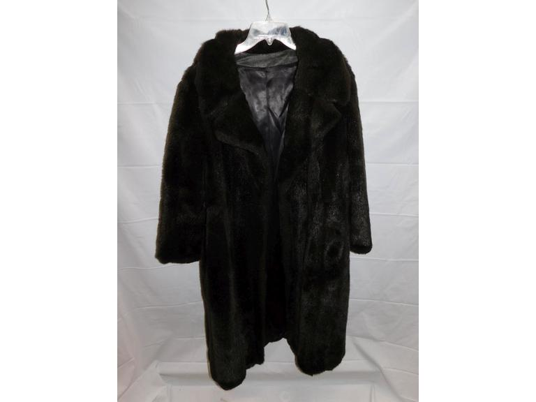 Vintage Fur with Leather Front Full Length Coat