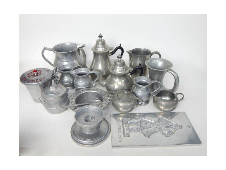 Collection of Vintage Pewter Serving Pieces
