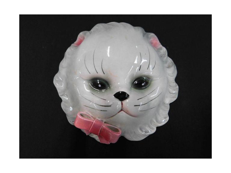 Vintage Lefton Ceramic Kitty Wall Pocket