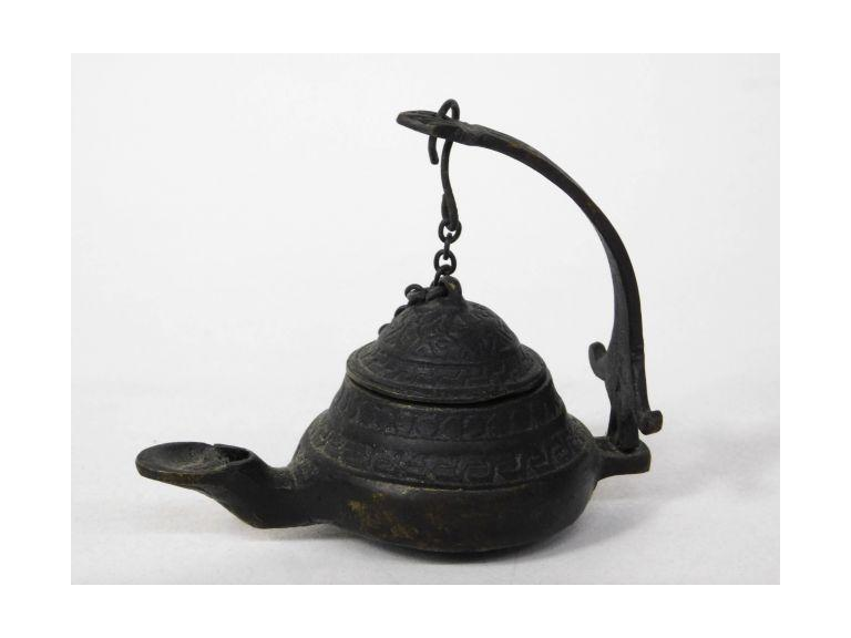 "Small Ornate Bronze ""Betty"" Style Lamp"
