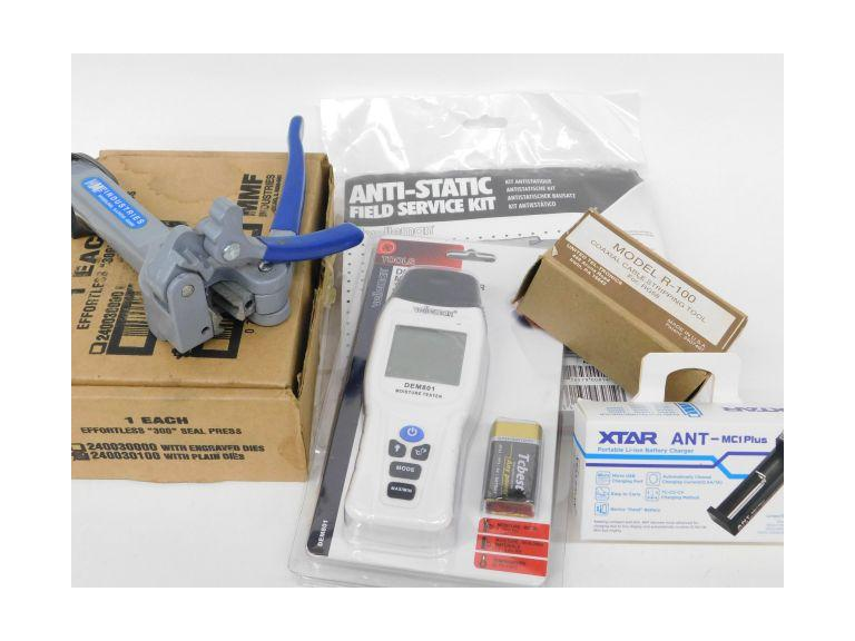 "Lot of New, Old Stock Items w/ a ""300"" Seal Press, Coaxial Cable Stripping Tool and More"